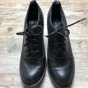 Born black leather heel booties